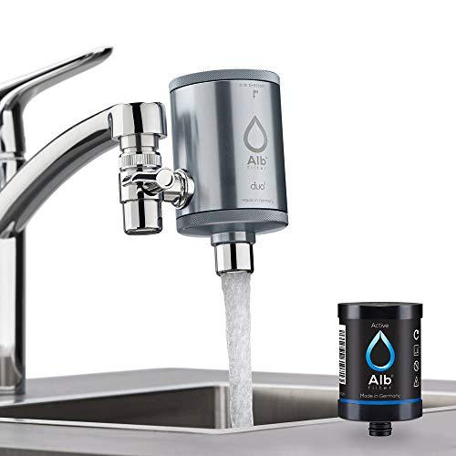 Alb Filter® Duo Active Trinkwasserfilter | Armatur Anschluss | Filtert Schadstoffe, Chlor, Blei, Pestizide, Mikroplastik | Set mit Gehäuse und Kartusche | Made in Germany Grau