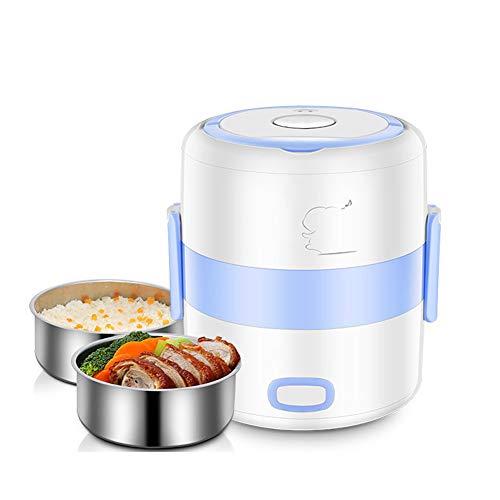 DAMAI Fiambrera eléctrica INOX con Bandeja extraíble de Acero Inoxidable portátil, Recipiente de Comida térmico,1.2L,Blue