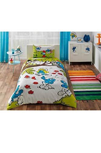 Tac Pitufos - Juego completo de sábanas tipo sábana de tela estándar de algodón tejido Tema para bebés y niños, número de fundas de almohada 1 pieza