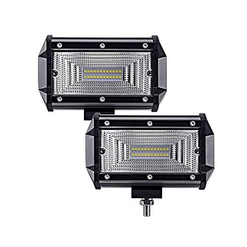 Barra de luz LED 5 pulgadas Dos filas de luces de trabajo, focos laterales Barra de luz LED, luces de conducción fuera de la carretera, cuatro filas de luces de niebla de cubos LED, con haz combinado