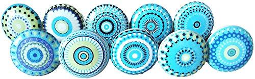 Juego de 20 pomos de cerámica para puerta de armario, cajón, diseño vintage, color azul