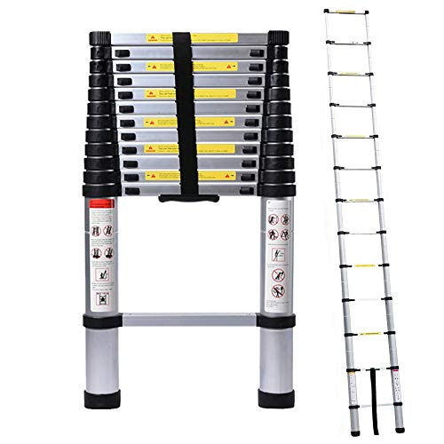 5M/16.4ft Aluminum Extension Foldable Telescopic Ladder Straight Telescoping...