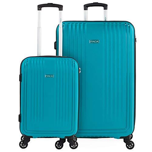 ITACA - Juego de Maletas de Viaje Rígidas 2 Pzs. Set Trolley 4 Ruedas (Cabina + Grande) Resistentes y Robustas. Conjunto Equipaje Avión. 760317, Color Turquesa