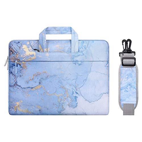 MOSISO Laptop Shoulder Bag Compatible with 13-13.3 inch MacBook Pro, MacBook Air, Notebook Computer, Polyester Watercolor Marble Carrying Briefcase Sleeve, Blue
