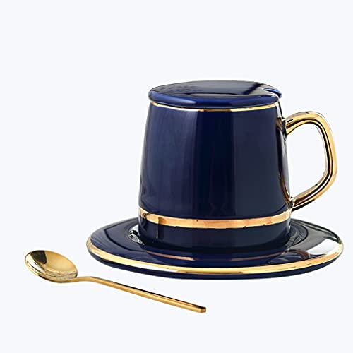 Latte Art Cup Household Coffee Cup and Saucer Set, European Ceramic Cup with Lid Black Tea Cup Set,350ml Large Capacity Gold Rim Drinking Cup,for Espresso, Tea and Various Beverages Coffeezone