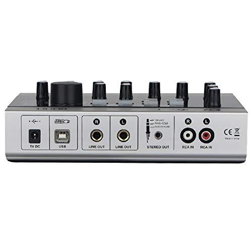Alctron USB-Audio-Aufnahme-Schnittstelle, USB-Soundkarten-Mikrofon, externer Verstärker mit Cinch-Kabel für Handy, PC, Laptop