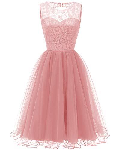 Viloree Damen Spitze Tutu Brautjungfern Abend Cocktail festlich Knielang Kleid Rosa 2XL