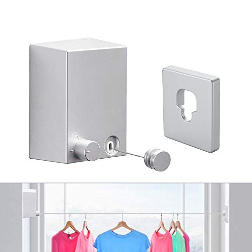 JOOM Retractable Clothesline Indoor Clothes Lines retracting  Heavy Duty for Drying Laundry line OutdoorWall Mounted Stainless Steel 138Feet One line Silver