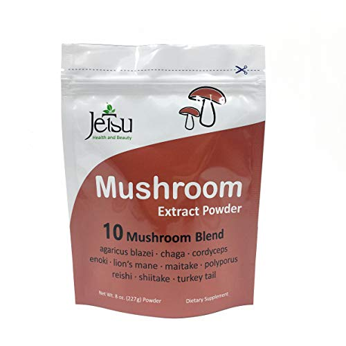 Mushroom Extract Powder - Powerful 10 Blend, Organic Lions Mane, Cordyceps, Reishi, Shiitake, Turkey Tail Mushrooms Nootropic Brain Supplement for Energy, Calm, Focus & Immune System Booster