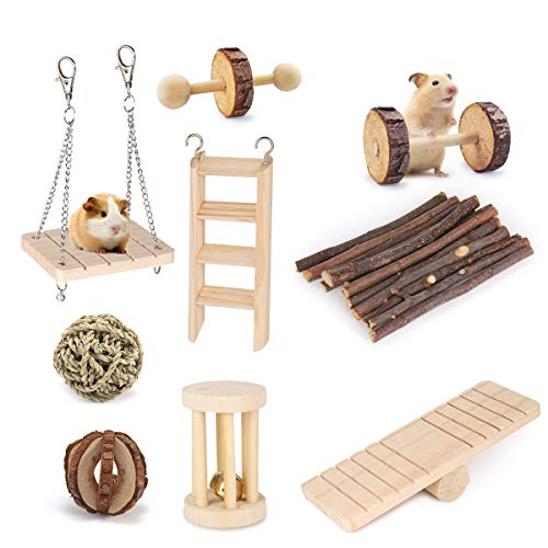 Pepilet Hamster Toys,Hamster Cage Accessories Apple Twig,Guinea Pig Toys Chinchilla Toy Gerbil Toy Rat Toys Hamster Wood Toy Hamster Chew Toys Chinchilla Chew Toy (Pack of 9)