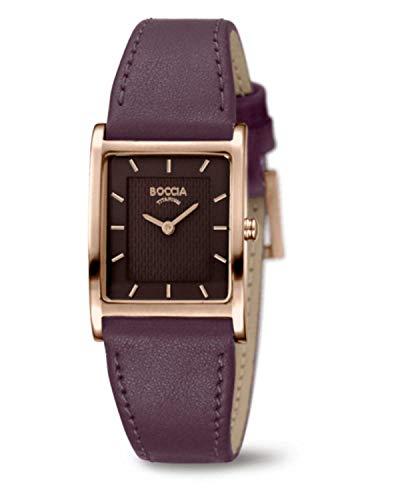 Boccia Damen Analog Quarz Uhr mit Leder Armband 3294-04