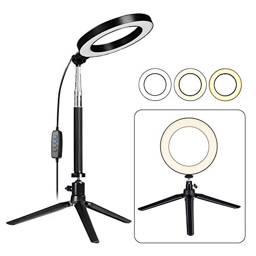 Fonrest LED Ring Light with Stretchable Tripod Stand Selfie Stick, 6-inch Dimmable Floor/Table Annular Lamp for Selfie, Makeup, Live Stream, YouTube, Vlog, Camera/Phone Video Shooting USB Plug