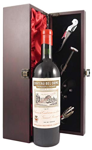 Photo of Chateau Bel Orme Tronquoy de Lalande Haut Medoc Cru Bourgeois 1971 vintage wine in a silk lined wooden box with four wine accessories, 1 x 750ml