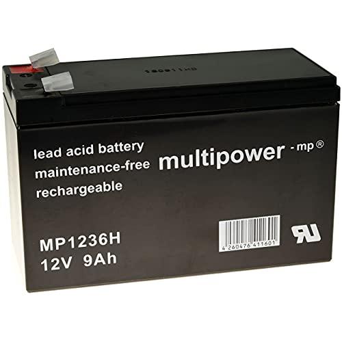 Powery Batería Plomo (multipower) MP1236H Compatible con FIAMM 12FGH36 (Alta Descarga -Arranque)