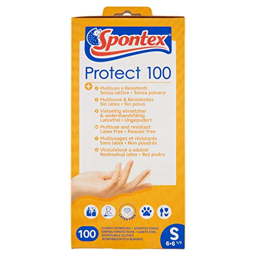Spontex Protect - Guanti monouso in vinile, senza polvere e senza lattice, multiuso, in pratica scatola dispenser, misura S, confezione da 100 pezzi, 400 g