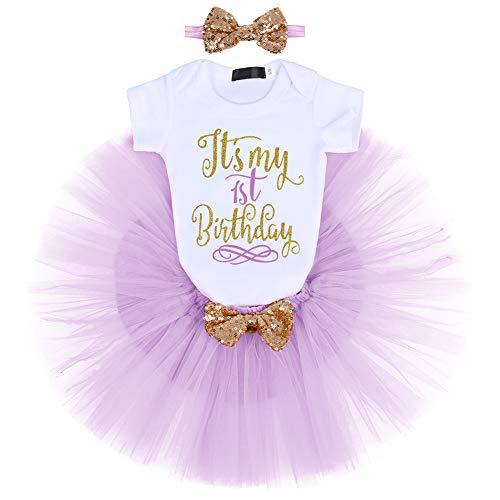 FYMNSI Disfraz de fiesta de cumpleaos para beb, de algodn, con falda de tut y cinta para la cabeza, 3 piezas, para sesiones fotogrficas Morado 1 cumpleaos 1 Ao