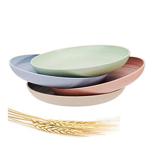 Plato de paja de trigo Paquete de 4 7.8 pulgadas Platos de cena irrompibles, Apto para lavavajillas y microondas, sin BPA y saludable para niños, niños pequeños y adultos