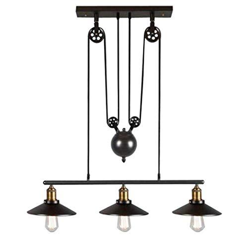 LIXFDJ ZjNhl - Lámpara de techo (3 luces industriales, con polea antigua, para cocina, isla de comedor, bar