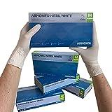 ARNOMED Guantes desechables de nitrilo M, blancos, sin látex, 100 unidades/caja, guantes desechables, sin polvo, guantes de nitrilo, disponibles en talla S, M, L y XL