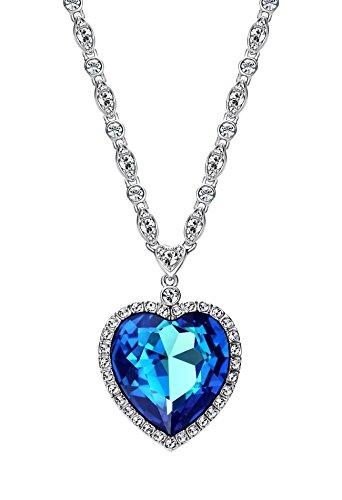 Ananth Jewels Swarovski Crystal Blue Titanic Ocean Heart Necklace Jewellery for Women