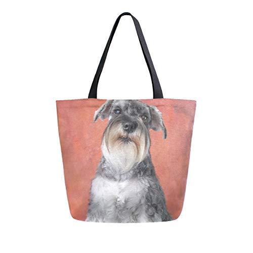 RELEESSS Schnauzer Hund Frauen Canvas Tote Bag Strandtasche Einkaufstasche Schultertasche Handtasche
