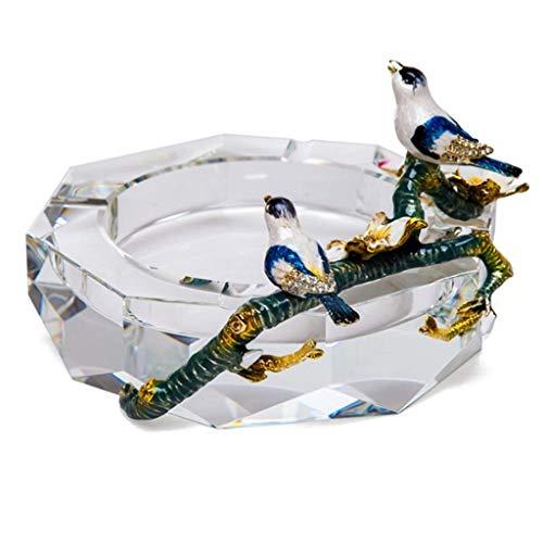 Cenicero Interior cristalino cenicero diámetro 4.9in, Interior al Aire Libre decoración casera Mesa Tapa Ceniza Bandeja de cigarro Juego de Regalo para Fumadores cenicero Novedad Mei