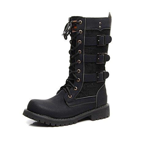Zapatos de hombre Los zapatos de los hombres atan con cordones la hebilla del cinturón Las botas de combate del mediados de del cuero de la PU for los caballeros corren un tamaño más grande zapatos de