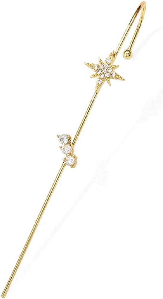 Ear Wrap Crawler Climber Earrings for Women Girls Long Pierced Stick Ear Pin Gold Plated Hypoallergenic