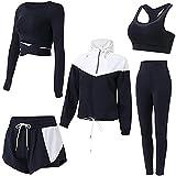 BBYU Damen Streatwear Trainingsanzüge Herbst und Winter 5-teiliges Yoga Sportswear Damenanzug Frauen Sportanzug Trainingsanzug Bekleidungsset Sport Sweat Suit Set Outfit (S, Schwarz)