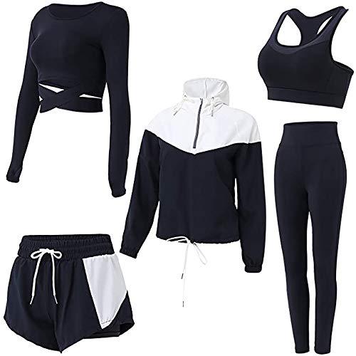 BBYU Damen Streatwear Trainingsanzüge Herbst und Winter 5-teiliges Yoga Sportswear Damenanzug Frauen Sportanzug Trainingsanzug Bekleidungsset Sport Sweat Suit Set Outfit (M, Schwarz)