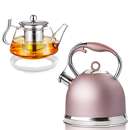 Tea Kettle Best 3 Quart induction Modern Stainless Steel Surgical Whistling Teapot - Pot For Stove Top(Rose-gold) and 25 OZ Glass Teapot with Removable Stainless Steel Infuser, Borosilicate Glass Tea