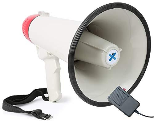 Vexus MEG040 Megafono a batteria con funzione registrazione, sirena, cinghia e microfono (40 Watt, raggio 1 KM, microfono rimovibile, leggero)