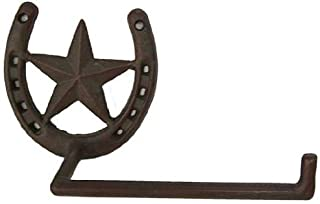 Metal Star and Horseshoe Toilet Paper Holder Cast Iron Decor