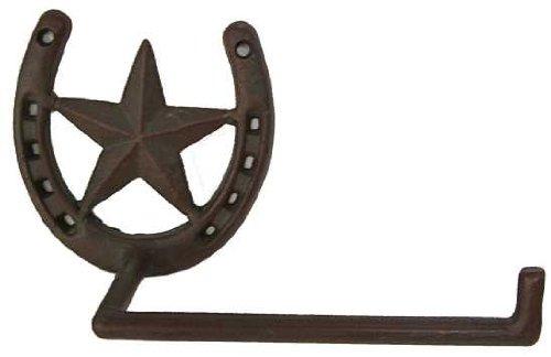 Metal Star and Horseshoe Toilet Paper Holder Cast Iron Decor