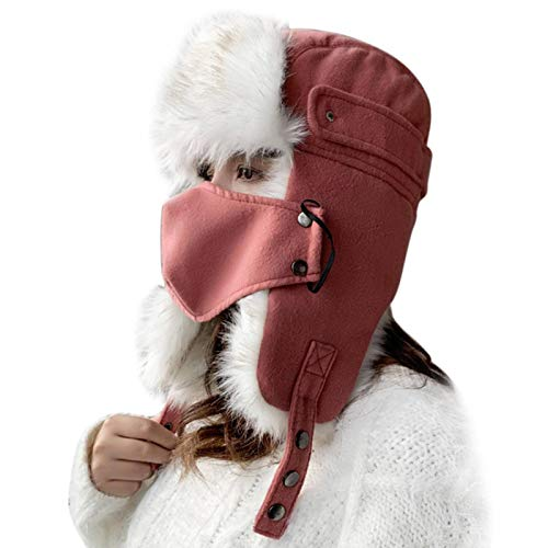 N\C Women Fashion Trapper Hat Cold Weather, Winter Reflective Warm Hats, Face Mask Cap With Ear Flap