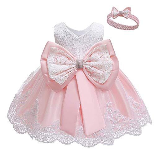 INLLADDY Baby Mädchen Prinzessin Kleid 2tlg Set Bowknot Spitze Taufkleid Festlich Kleid Hochzeit Party Festzug Taufe Tutu Kleid 0-24 Jahre Rosa 12-18Monate