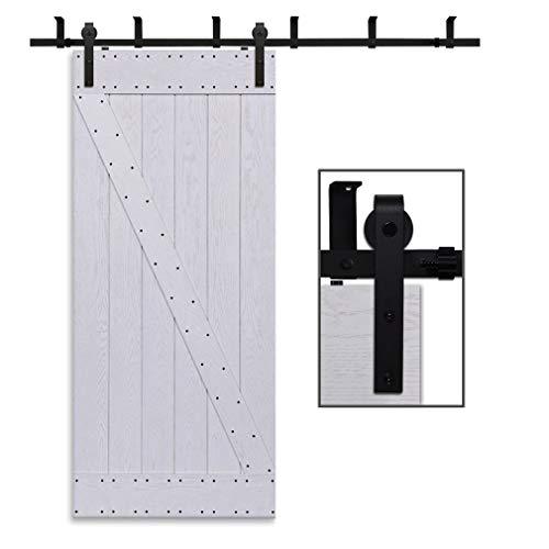 Herraje Puerta Corredera Techo 168cm/5.5ft Negro, CCJH Riel Puerta Corredera Armario, Adecuado para 1 Puerta de 84 cm de Ancho [J Shape Hanger]