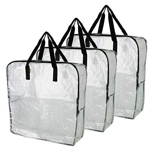 IKEA DIMPA Lot de 3sacs de rangement XL transparents et résistants à l'humidité