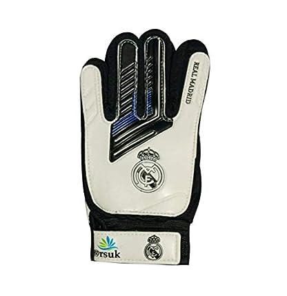 ARSUK Guantes de portero, guantes de portero junior con agarre fuerte para ahorrar y proteger los dedos más duros (Real Madrid Talla: 6)