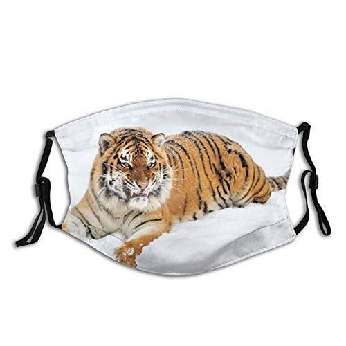 Mei-ltd Angry Tiger, Sit, Predator, Snow Face Ma-sk - Funda facial reutilizable para adultos con alambre de nariz ajustable y bucles para orejas