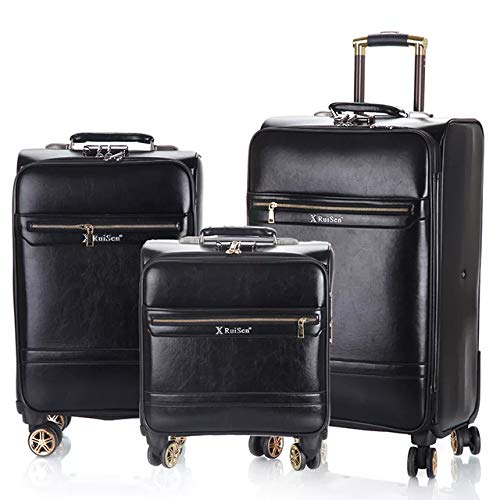 TUW 3PCS 16''20/24 inch Rolling luggage set travel suitcase Cabin trolley luggage business carry on suitcase PU leather big bag,3PCS set,24'