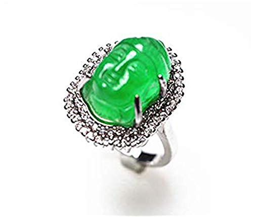 yigedan Anillo solitario de plata de ley 925 para mujer con jade verde natural
