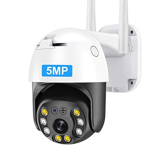 5MP PTZ WiFi Security Camera Outdoor, INQMEGAPRO 1920P HD Wireless Surveillance Camera, Waterproof IP Camera, 2-Way Audio, Enhanced Night Vision, Motion Detection, ONVIF, SD Card Slot,393-5MP