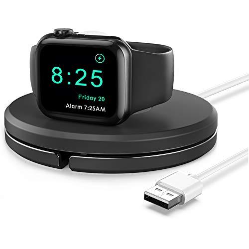 Gladgogo Soporte para Apple Watch Stand compatible con Apple Watch Serie 6/5/4/3/2/1/SE, estaciones de carga para iWatch con soporte nocturno, gestión de cables (con cable de carga), color negro