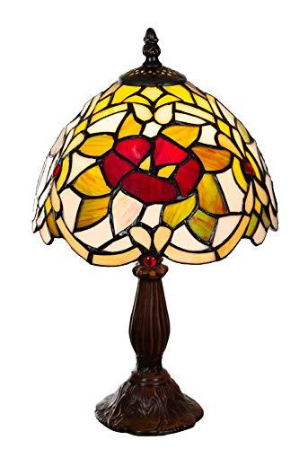 Lampe im Tiffany-Stil 8 Zoll Libelle, edel, Rose Dekorationslampe, Tiffany Stil, Glaslampe, Leuchte,Tischlampe, Tischleuchte (Tiff 148)