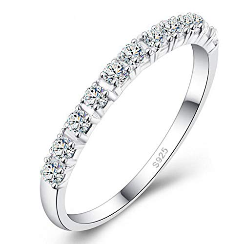 DesirePath S925 Sterling Silver Ring Engagement Ring for Women Fashion Single Row Drill Ring