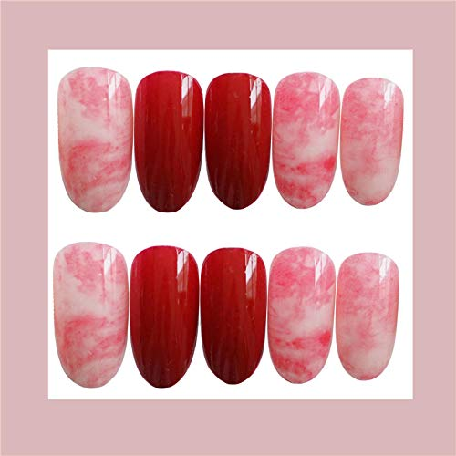 CSCH Faux ongles New red pure color with halo dyeing pattern false nails Bride round full nail tips midle-long size lady fake nails