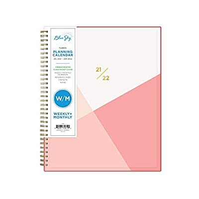 """Blue Sky 2021-2022 Academic Year Weekly & Monthly Planner, 8.5"""" x 11"""", Flexible Cover, Wirebound, Cali Pink (130619)"""