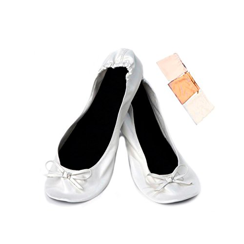 Disok – Ballerine pieghevoli, pieghevoli, per bomboniere di matrimonio, in sacchetto regalo Argento Size: Medium
