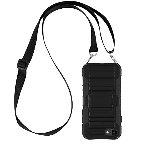 E-Tree Crossbody Lanyard Case for iPhone SE 2020/iPhone 7/iPhone 8 with Kickstand, Shockproof Dual Layered, Anti-Lost Detachable Necklace Strap for Kids and Outdoors, etc-Black